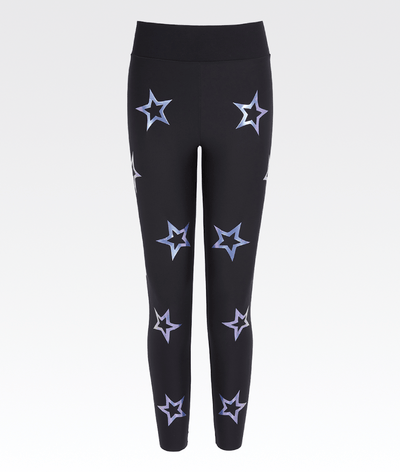 black high waisted high performance gym legging with holographic stars