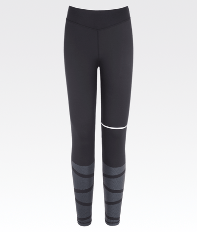 Women's high waisted, black gym leggings with subtle white dot detail.