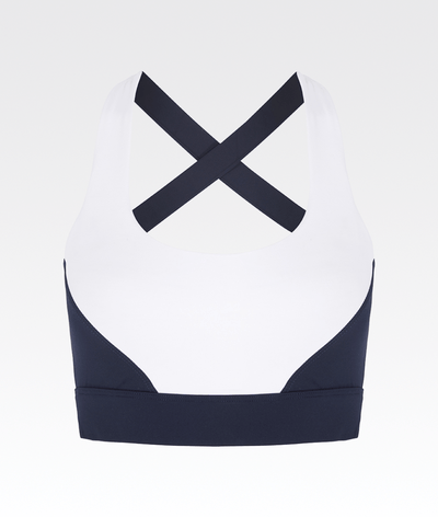 navy and white criss cross supportive sports bra