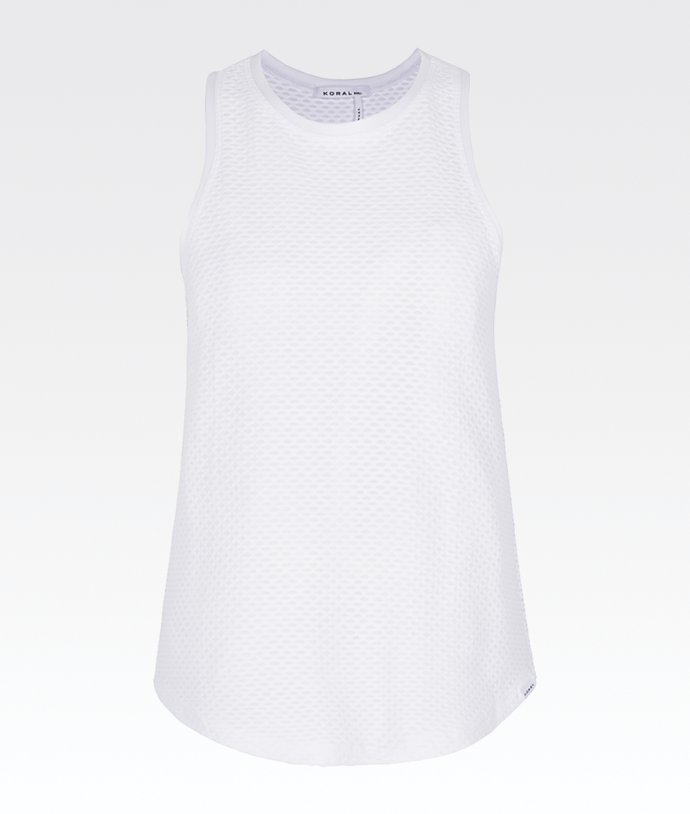 white mesh gym tank with silk trim by koral