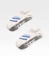 cream womens pvc grip ankle sock with blue and white stripe pattern