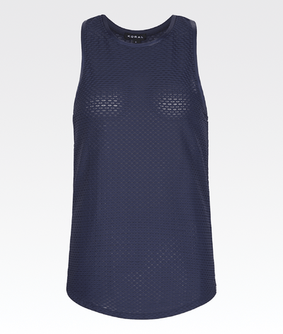 navy blue mesh gym tank top by koral