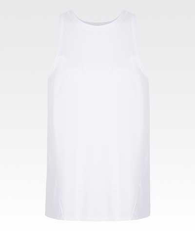 white high neck sleeveless womens gym vest top