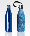 shiny blue stainless steel water bottle eco friendly and sustainable