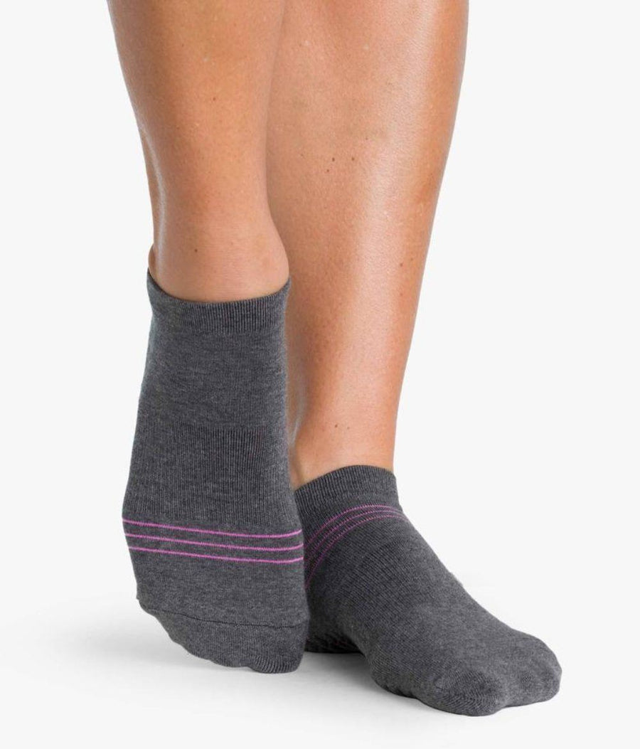 charcoal grey womens ankle sport sock with pvc grip for ballet or yoga