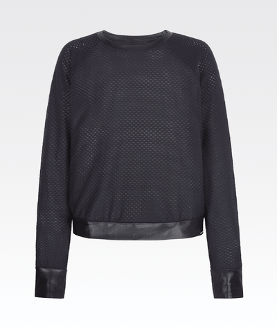 Light weight textured mesh sports luxe jumper from Koral in black.