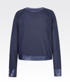 Midnight blue sports luxe jumper. Mesh material with silk detailed cliffs and hem. Sports luxe form My Gym Wardrobe.