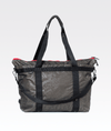 dark grey foil camo gym weekend holdall bag with silver hardware and red detail