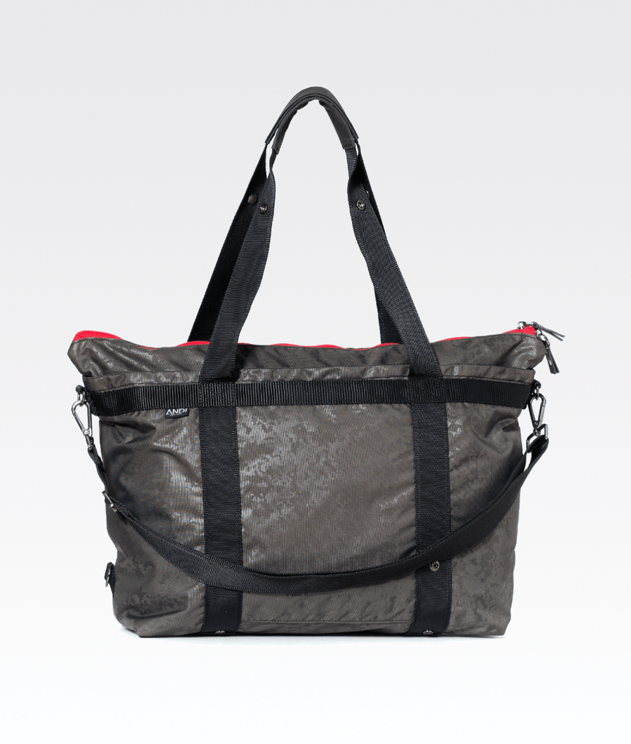 4665c83b52dc1a dark grey foil camo gym weekend holdall bag with silver hardware and red  detail