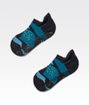 black womens ankle sport sock with blue geometric pattern and pvc grip
