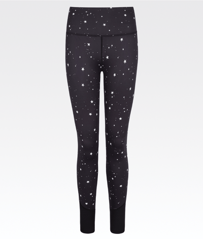 black high performance gym legging with white star print