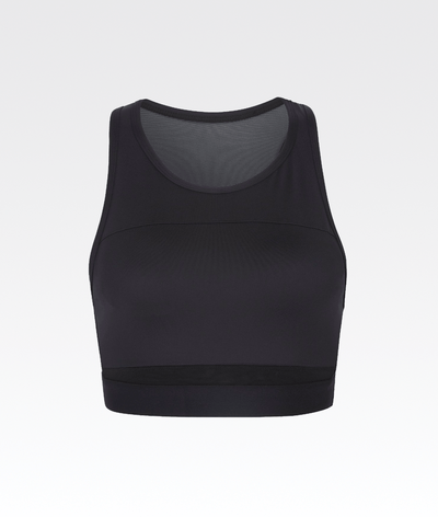high neck mesh back black womens crop top sports bra