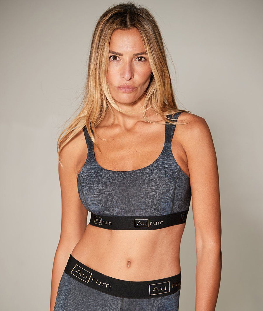 black crocodile print strappy activewear sports bra