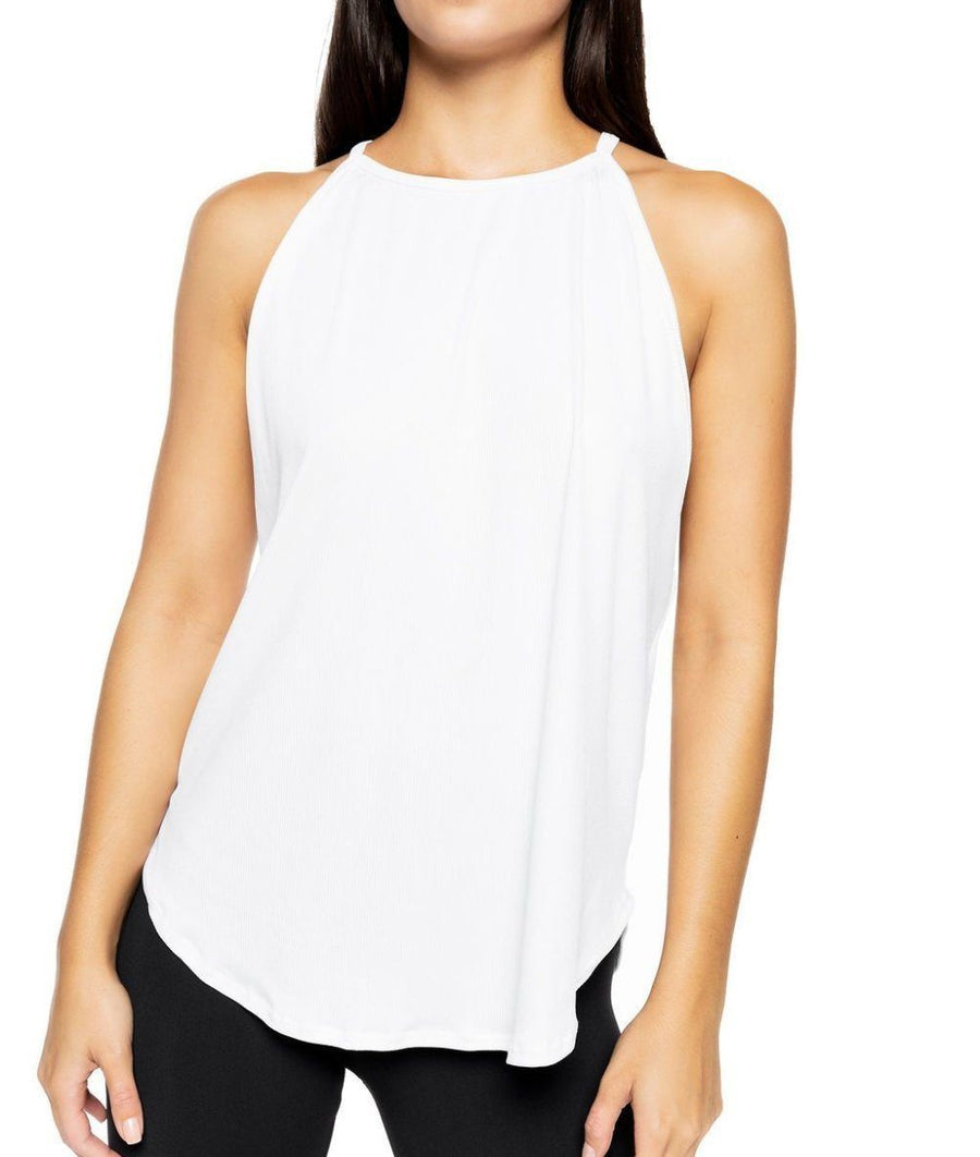 white ribbed gym vest top strappy loose fitting