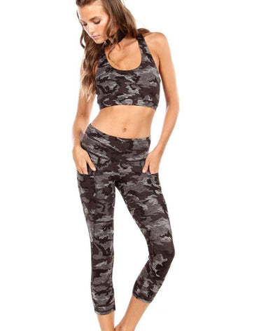 high waisted black and grey camo legging