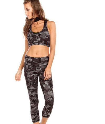 high waisted black and grey camo legging with pockets