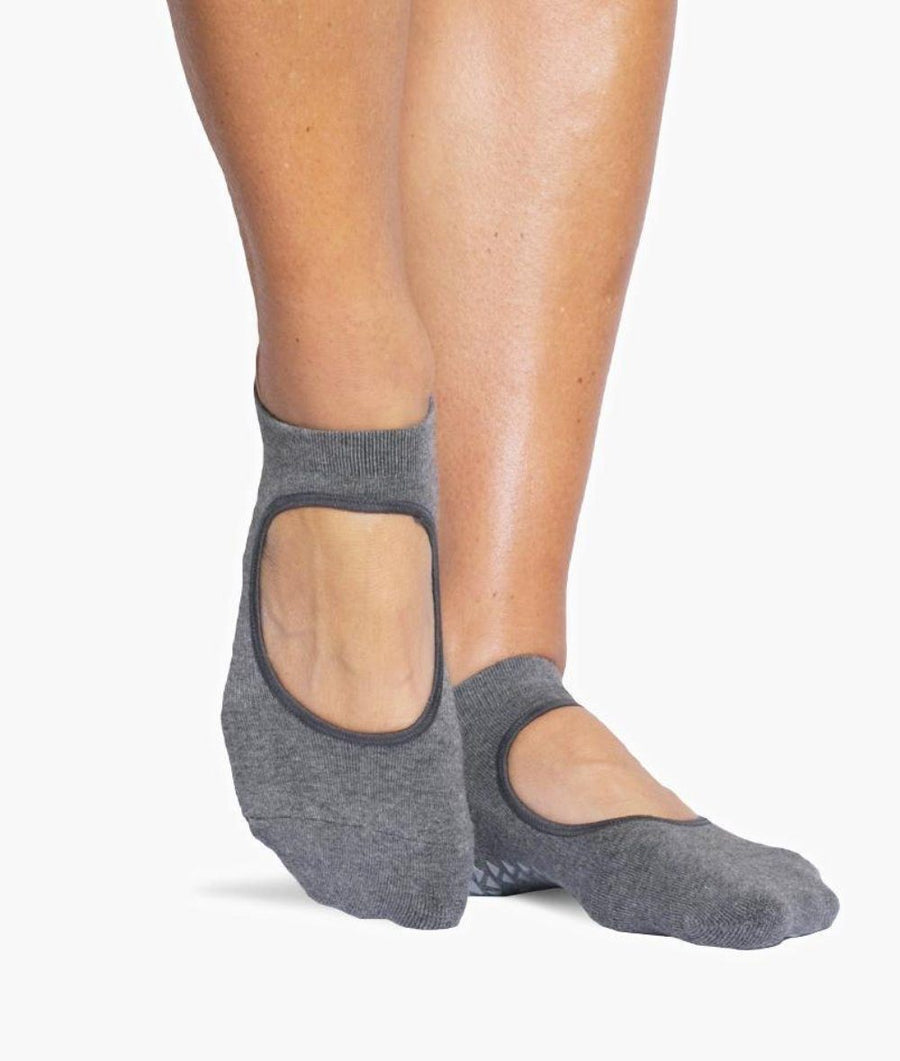 Josie Grip Sock with Strap in Charcoal