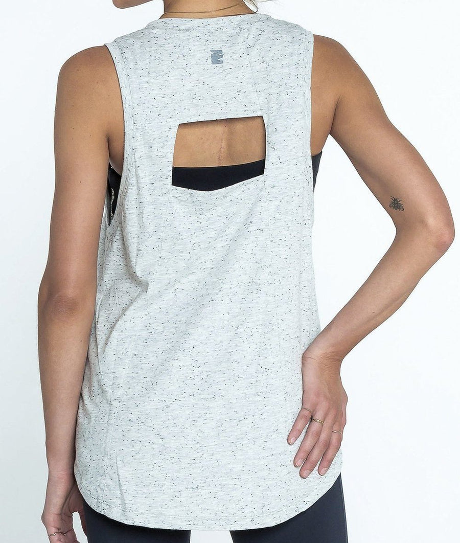 grey marle cut out back gym vest top
