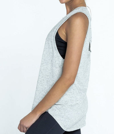grey cut out back detail sleeveless tank by arcaa movement