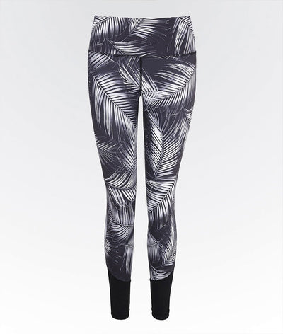 black and white high waisted high performance palm print gym legging