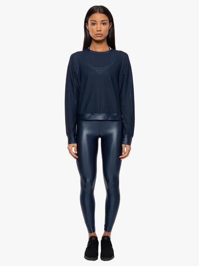 Stunning Midnight Blue activewear jumper, shown here with lustrous legging in Midnight, from Koral at My Gym Wardrobe.