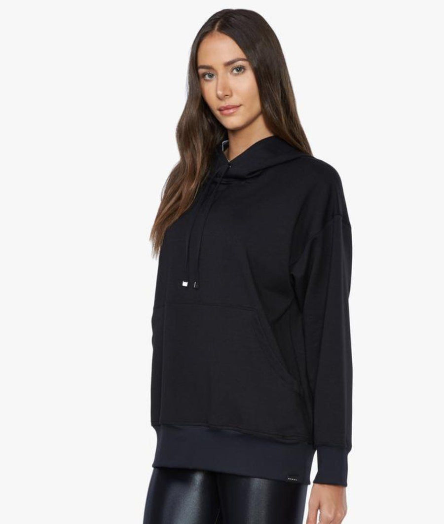 Black gym hoodie for women in super soft black material with front pouch.