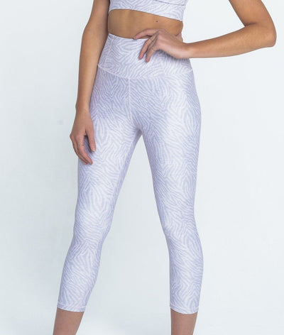 high waisted lilac zebra print gym legging