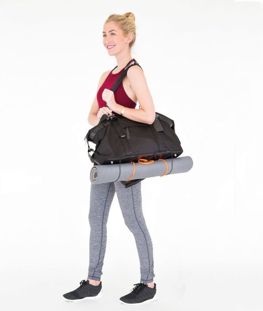 black large weekend gym back with yoga bag carry and pockets