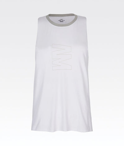 white and grey gym vest top