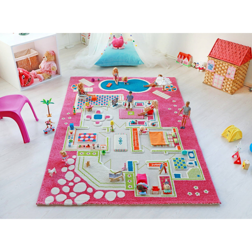 Play House Pink 3D playroom Carpet X-Large 160x230cm