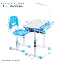 VIVO Blue Height Adjustable Children's Desk and Chair | Kids Interactive Workstation with LED Lamp (DESK-V303B) (SHIP TO US ONLY)