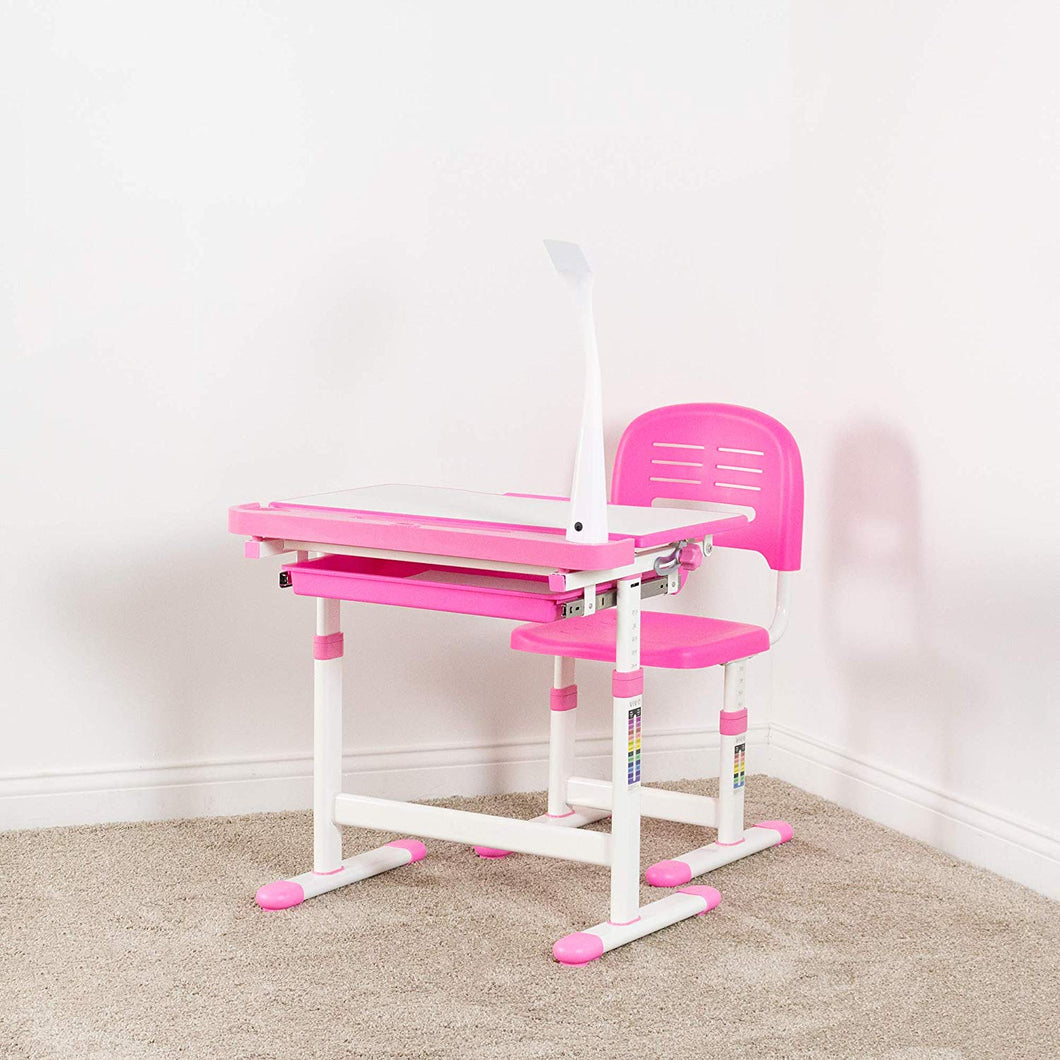 VIVO Pink Height Adjustable Children's Desk and Chair | Kids Interactive Workstation with LED Lamp (DESK-V303P)  (SHIP TO US ONLY)