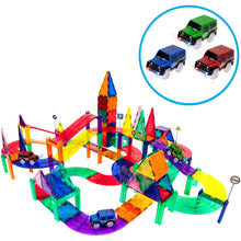 PicassoTiles 128 Piece Race Car Track Building Block Educational Toy Set Magnetic Tiles