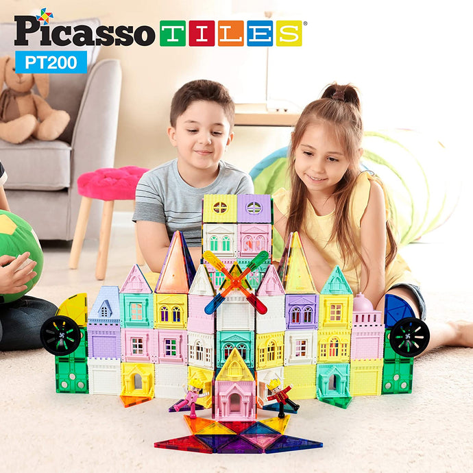PicassoTiles 200 Piece Castle Click-in Set