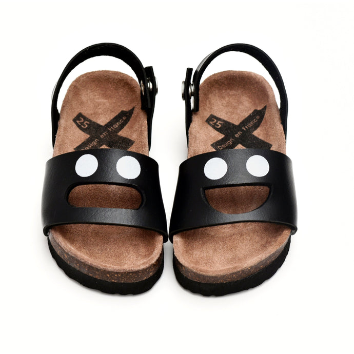 Boxbo black smiling face Wistiti Sandal no fur
