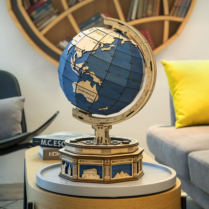 Hands Craft Globe Model DIY Wooden Puzzle