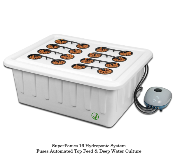 SuperClosets   SuperPonics 16 Hydroponic Grow System