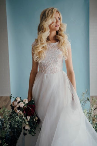 soft loose curls wedding hairstyles high neckline