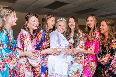colorful bridesmaids robes