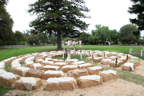 hay bale wedding seating