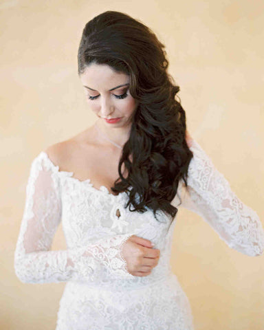 off the shoulder wedding dress hairstyles