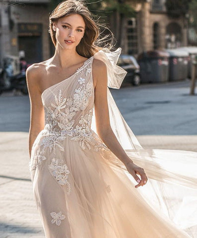 one shoulder wedding dress hairstyles