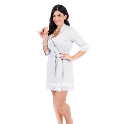 Limited Time - Grey Lace Trim Robe