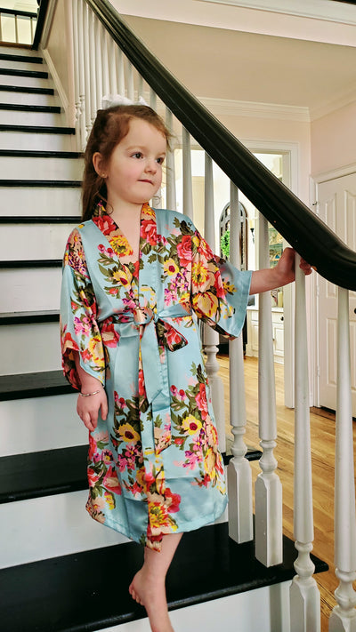 Mint Floral Flower Girl & Junior Bridesmaid Robe