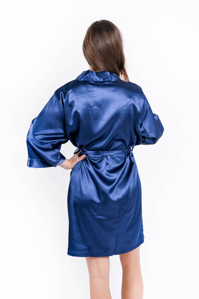 NEW - Navy Satin Bridesmaid Robe