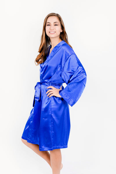 Royal Blue Satin Bridesmaid Robe