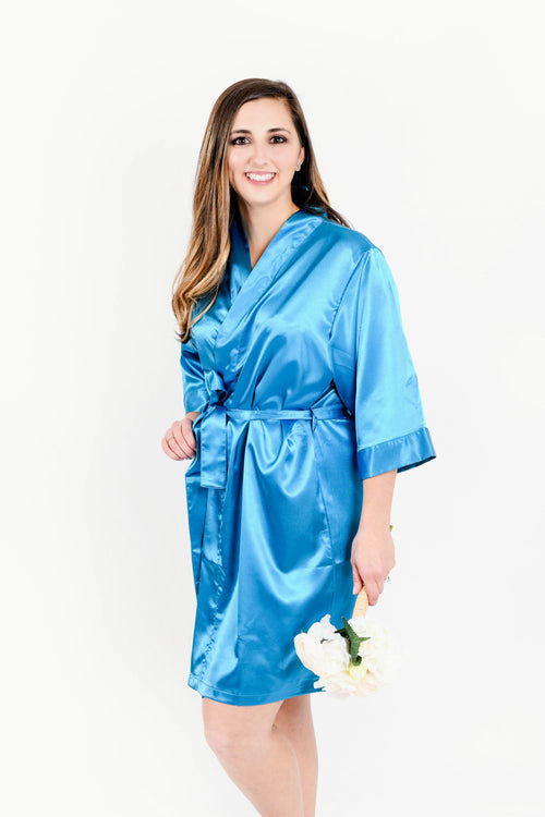 Aqua Satin Bridesmaid Robe