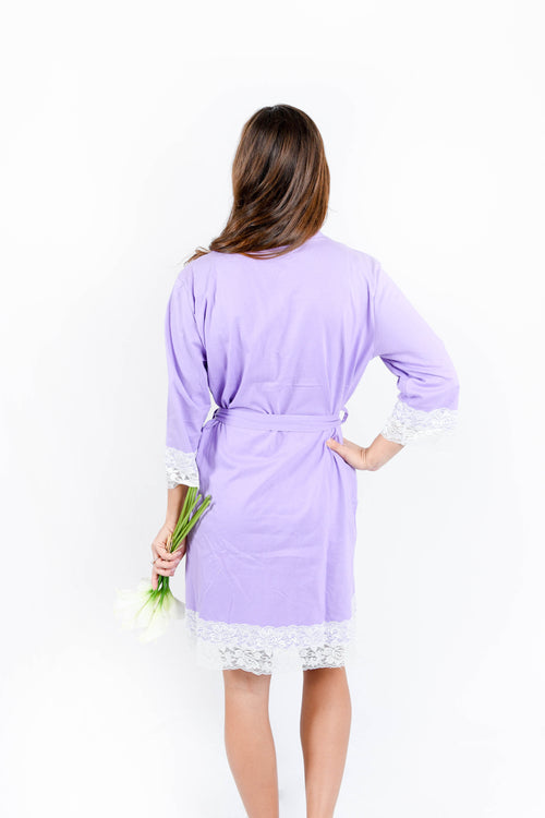 Lavender Lace Trim Robe