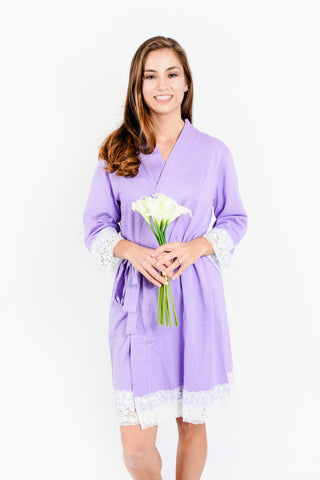White Floral Satin Bridesmaid Robes