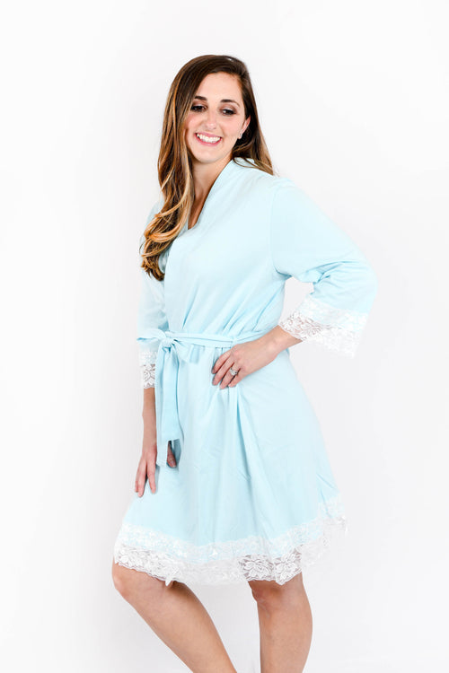 Spa Blue Lace Trim Robe